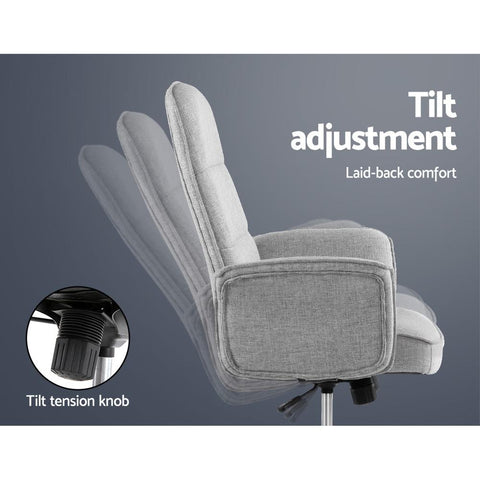 Fabric Office Desk Chair - Grey height adjustment