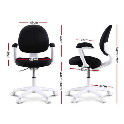 Kids Study Chair with Footrest - Black dimensions