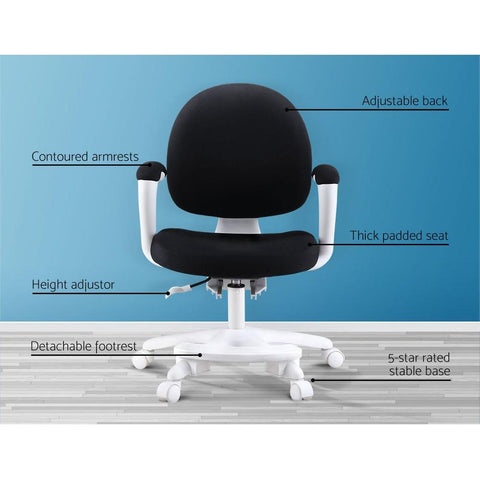 Kids Study Chair with Footrest - Black adjustable back