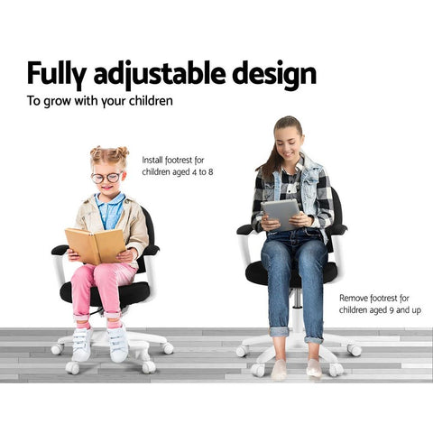 Kids Study Chair with Footrest - Black fully adjustable design
