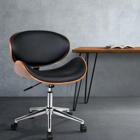 Wooden & PU Leather Office Desk Chair - Black leather office chair