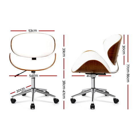 Wooden & PU Leather Office Desk Chair - White office chair