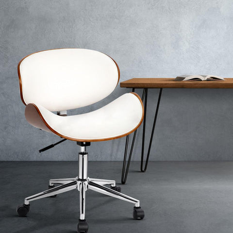 Wooden & PU Leather Office Desk Chair - White leather office chair