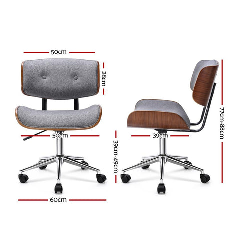 Wooden & PU Leather Office Desk Chair - Grey
