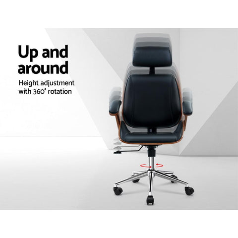 Artiss 'Ashby' Wooden Office Chair Computer Gaming Chairs Executive Leather - Black up and around