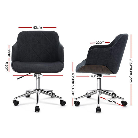 Artiss 'Portia' Wooden Office Chair Executive Fabric - Grey dimensions