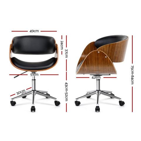 Wooden & PU Leather Office Desk Chair - Black office chair