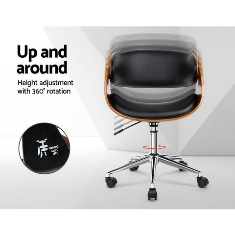 Wooden & PU Leather Office Desk Chair - Black desk chair