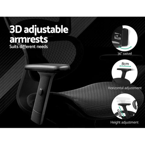 Executive 'Presidio' Deluxe Office Mesh Chair Net High Back - Black 3d adjustable armrests