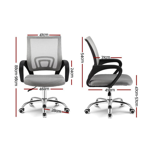 Artiss 'Cody' Office Mesh Chairs Mid Back - Grey dimensions