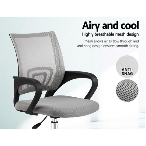 Artiss 'Cody' Office Mesh Chairs Mid Back - Grey breathable mesh design