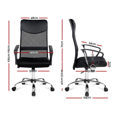 PU Leather Mesh High Back Office Chair - Black office chair