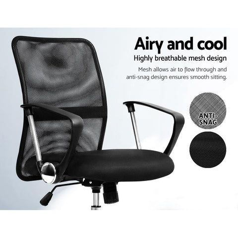 Artiss 'Nash' Office Mesh Chair Mid Back - Black airy and cool