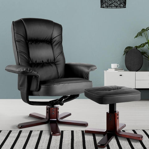 PU Leather Wood Armchair Recliner with Ottoman - Black leather reclining chair