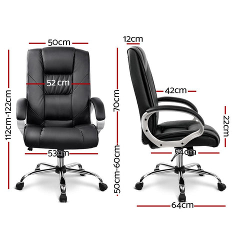 Artiss 'Cody' Executive PU Leather Office Desk Computer Chair - Black dimensions