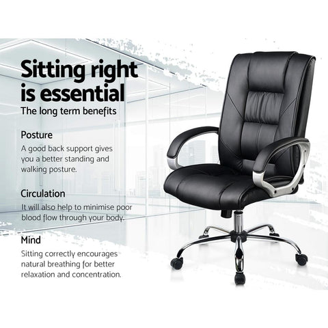 Artiss 'Cody' Executive PU Leather Office Desk Computer Chair - Black sitting right is essential