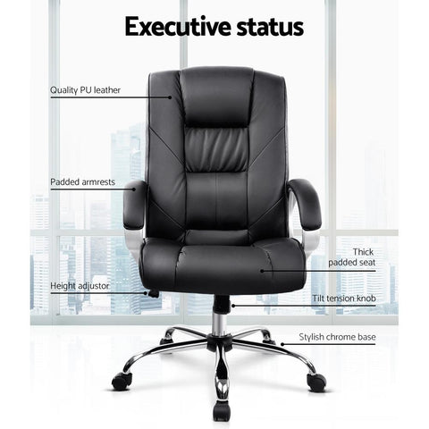 Artiss 'Cody' Executive PU Leather Office Desk Computer Chair - Black executive status