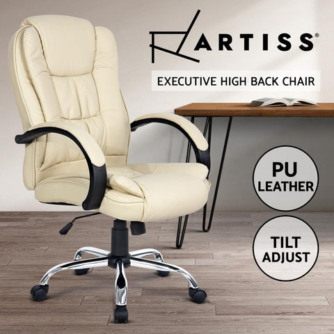 Executive PU Leather Office Desk Computer Chair - Beige office chair