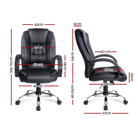 Executive PU Leather Office Desk Computer Chair - Black dimensions