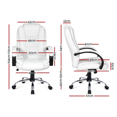 PU Leather Padded Office Desk Computer Chair - White office chair