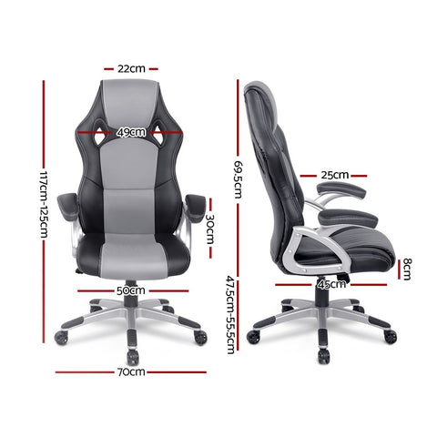 PU Leather Racing Style Office Desk Chair - Black & Grey gaming chair
