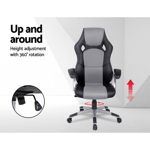 PU Leather Racing Style Office Desk Chair - Black & Grey gamer chair