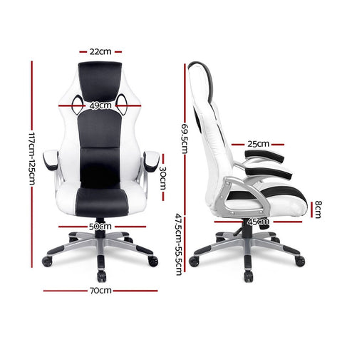 PU Leather Racing Style Office Desk Chair - Black & White gaming chair