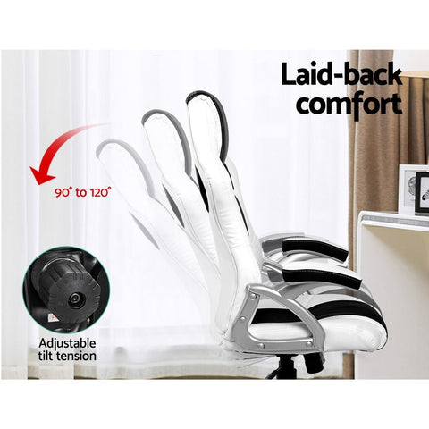 PU Leather Racing Style Office Desk Chair - Black & White gamer chair