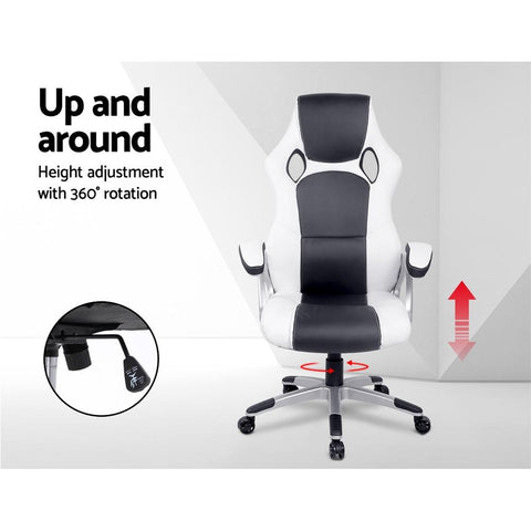 PU Leather Racing Style Office Desk Chair - Black & White office chair