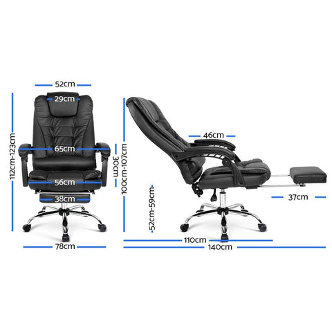 PU Leather Reclining Chair with Footrest - Black office chair