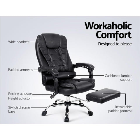 PU Leather Reclining Chair with Footrest - Black gaming chair