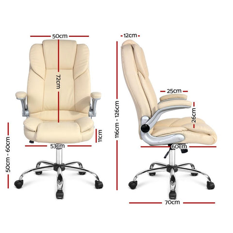 PU Leather Executive Office Desk Chair - Beige dimensions