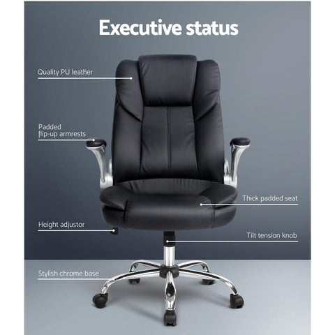 PU Leather Executive Office Desk Chair - Black executive office chair