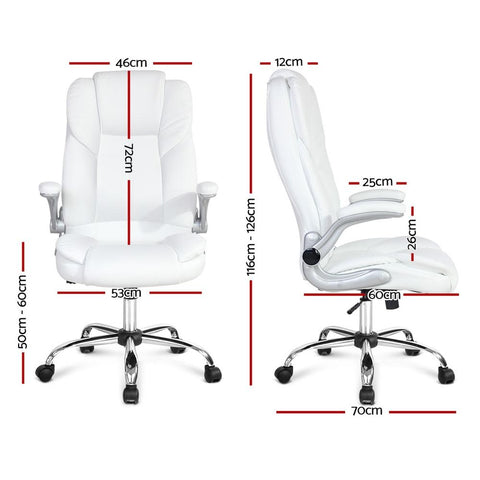 PU Leather Executive Office Desk Chair - White office chair
