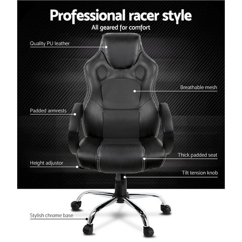 Racing Style PU Leather Office Desk Chair - Black office chair