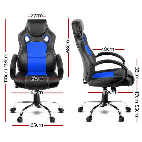 Racing Style PU Leather Office Desk Chair - Blue gaming chair