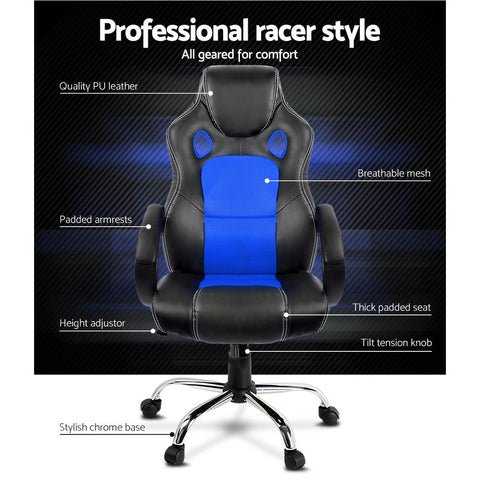 Racing Style PU Leather Office Desk Chair - Blue office chair