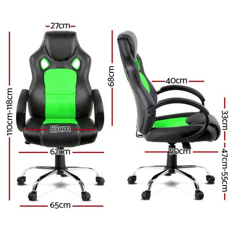 Racing Style PU Leather Office Desk Chair - Green gamer chair