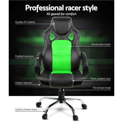 Racing Style PU Leather Office Desk Chair - Green office chair