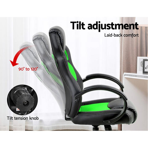 Racing Style PU Leather Office Desk Chair - Green gaming chair