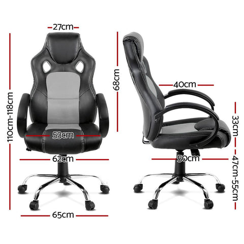 Racing Style PU Leather Office Desk Chair - Grey office chair