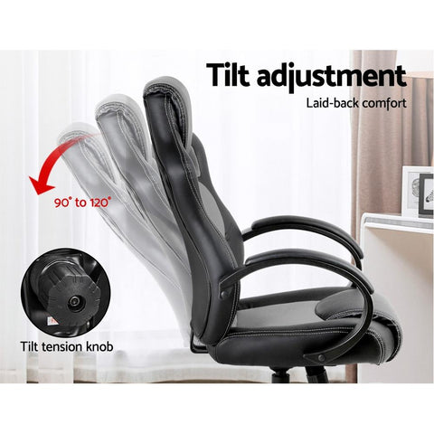 Racing Style PU Leather Office Desk Chair - Grey gaming chair