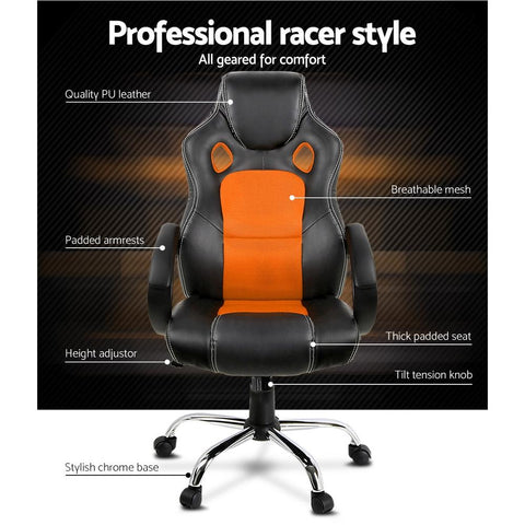 Racing Style PU Leather Office Desk Chair - Orange office chair