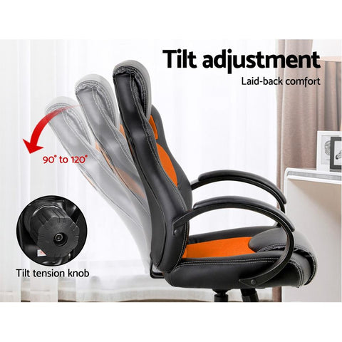 Racing Style PU Leather Office Desk Chair - Orange gaming chair