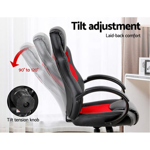Racing Style PU Leather Office Desk Chair - Red gamer chair