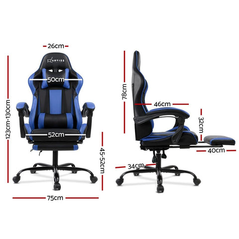 Gaming 'Racer' Office Chair Computer Seating - Black and Blue dimensions