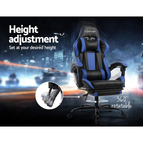Gaming 'Racer' Office Chair Computer Seating - Black and Blue height adjustment