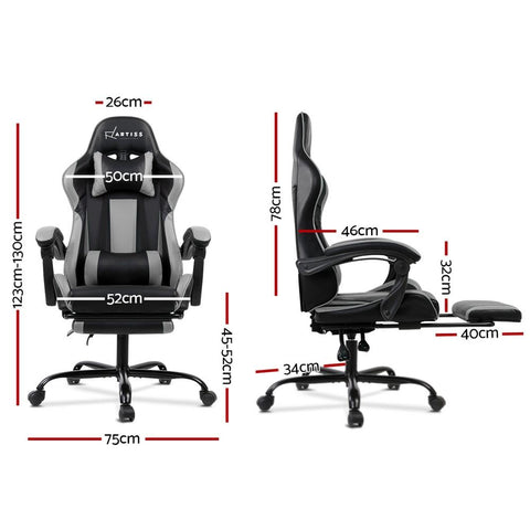 Gaming 'Racer' Office Chair Computer Seating - Black and Grey dimensions
