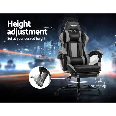 Gaming 'Racer' Office Chair Computer Seating - Black and Grey height adjustment