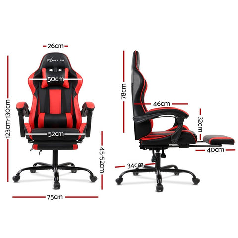 Gaming 'Racer' Office Chair Computer Seating - Black and Red dimensions